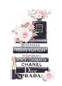 Chanel Wall Art, Fashion Book Stack