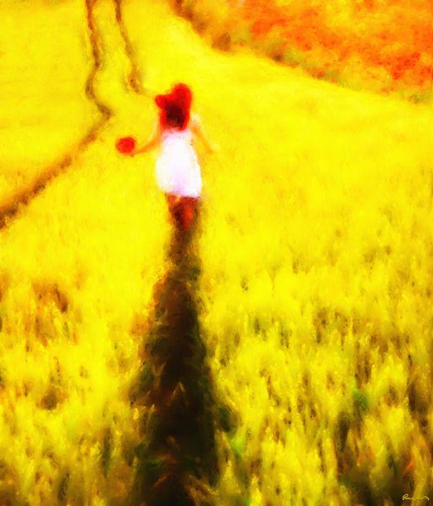 Girl running into the wheat - Ros Ruseva