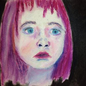 Childlike Fear Oil Pastel Canvas