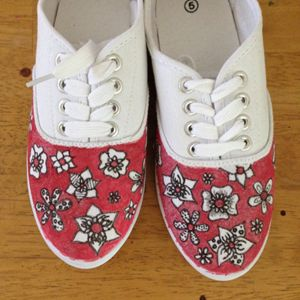 Glitter Pink Flower Canvas Shoes
