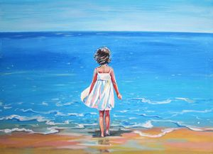 Seascape and a girl in a white dress