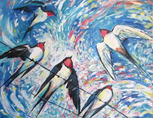 Summer Swallows Painting