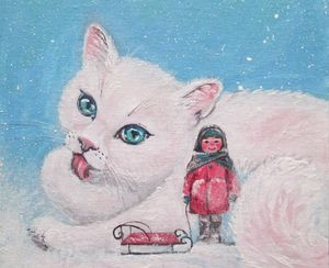 Fabulous white cat and little girl