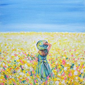 Girl in a hat with wildflowers Paint