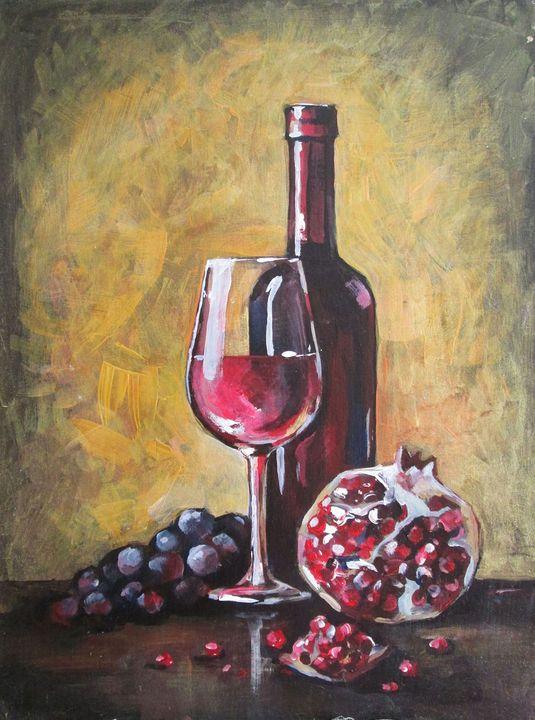 Wine still life Painting - GalaArt
