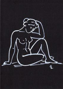A minimalist drawing of a female nud - GalaArt