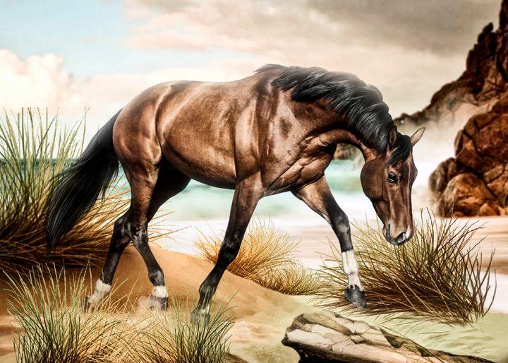 Horse walking in the dunes - Digital Animals Art