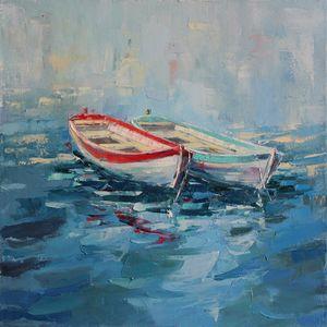 Boats painting, Seascape Painting, - Eugene Vazhov