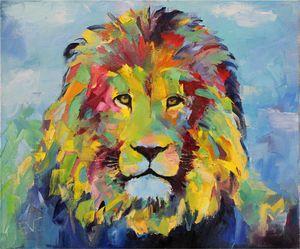 Lion Painting Colorful  Original Art - Eugene Vazhov