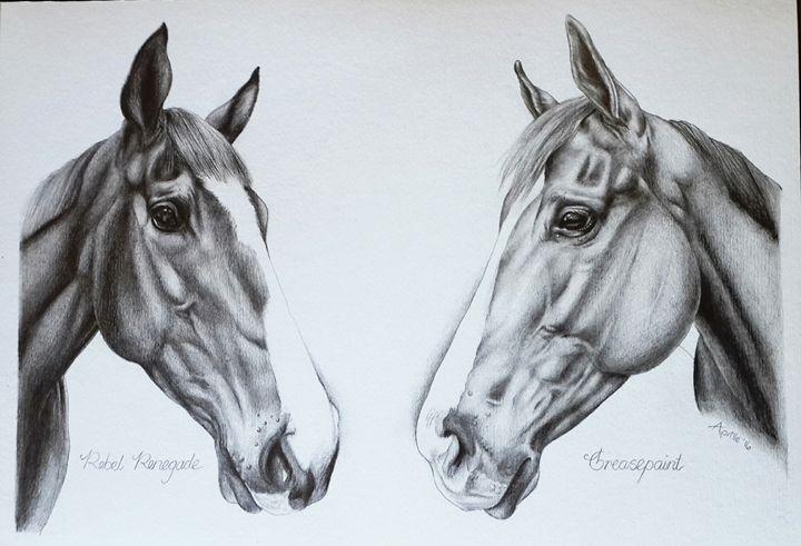 Double Equine Portrait - Aprille De Carvalho ~ Artist