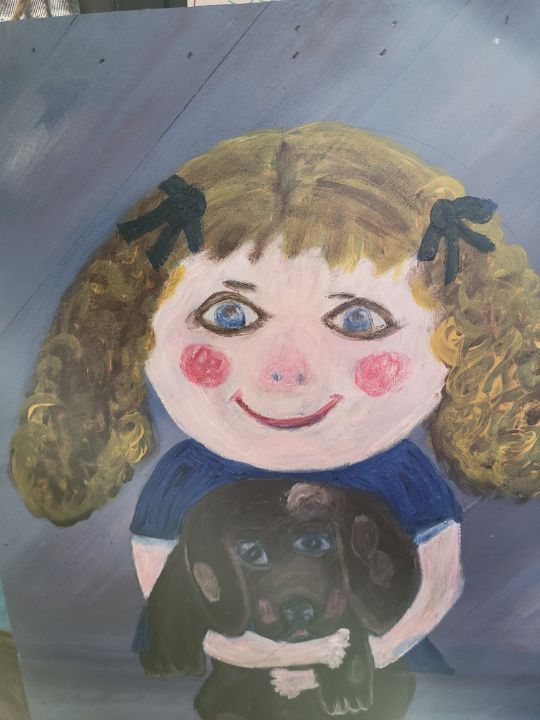 Little girl with dog - One of a kind folkart hand paintings