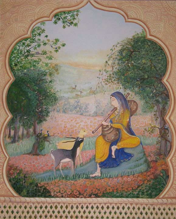Vasant Ritu (Indian Miniature) - Pratibha Patankar