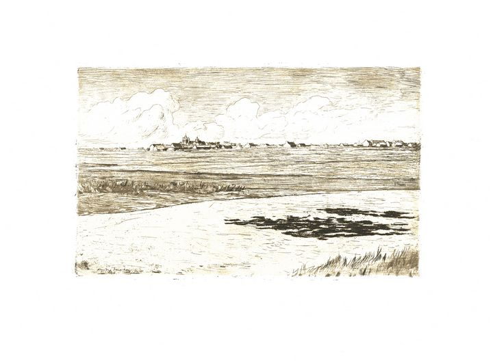 Old etching of landscape with town - Stonebrook Gallery