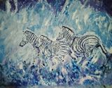 Zebras in blue