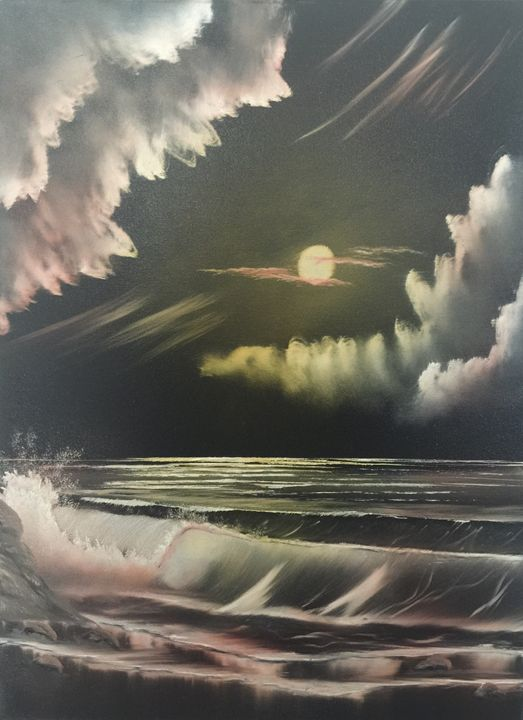 moonlit sea - Everett Boyer- Bob Ross Style Paintings
