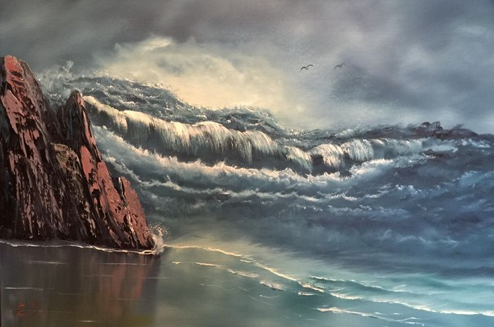 Raging Sea - Everett Boyer- Bob Ross Style Paintings