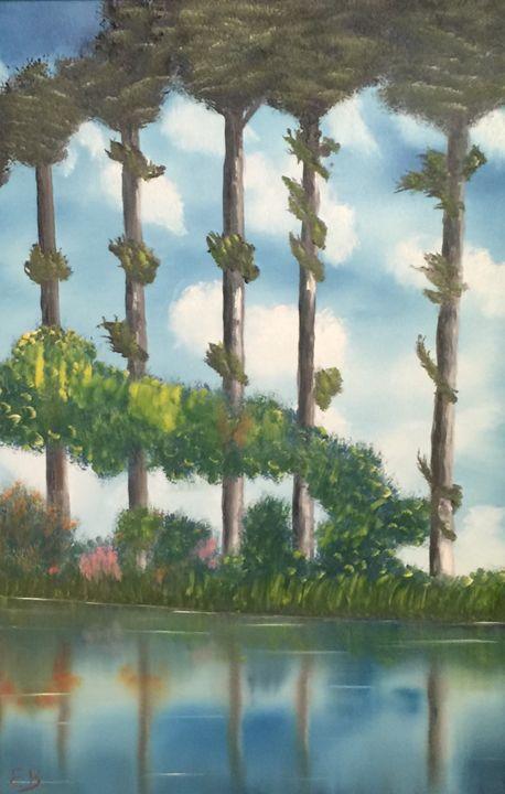 Monet reproduction: poplars/epte - Everett Boyer- Bob Ross Style Paintings