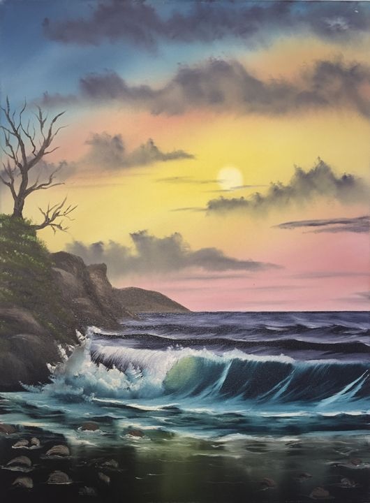 Land, Water and Sky - Everett Boyer- Bob Ross Style Paintings