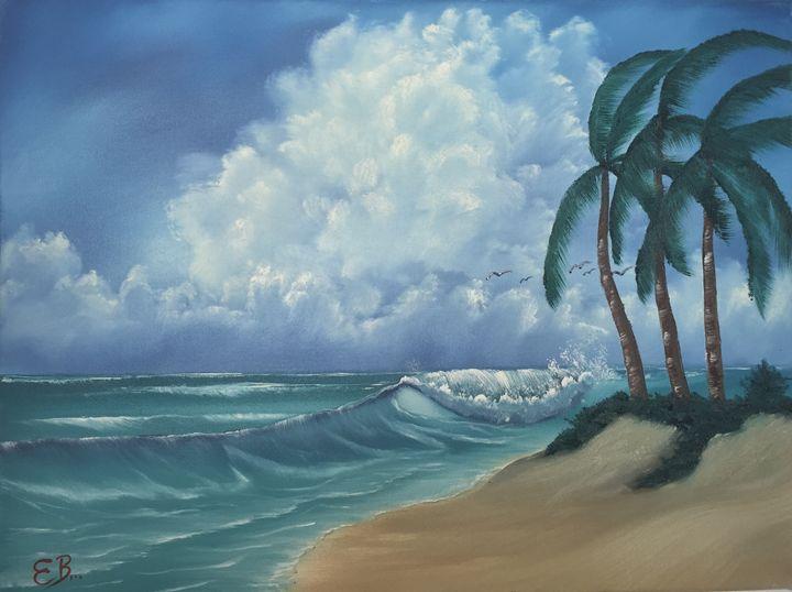 Ocean And Palms Everett Boyer Bob Ross Style Paintings