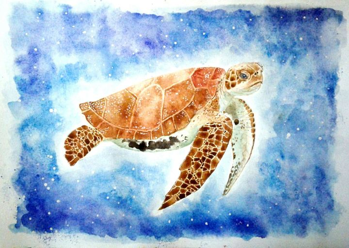 Watercolor Sea Turtle - Tiima Studio