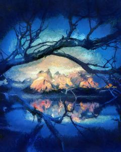 night oil painting with tree