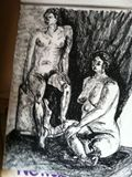 18 x 24 charcoal 'Two's Company'