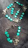 Malachite  stone  necklace  set