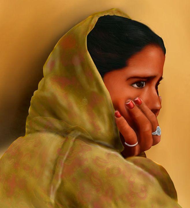 indian thinking lady - SARAVANAN