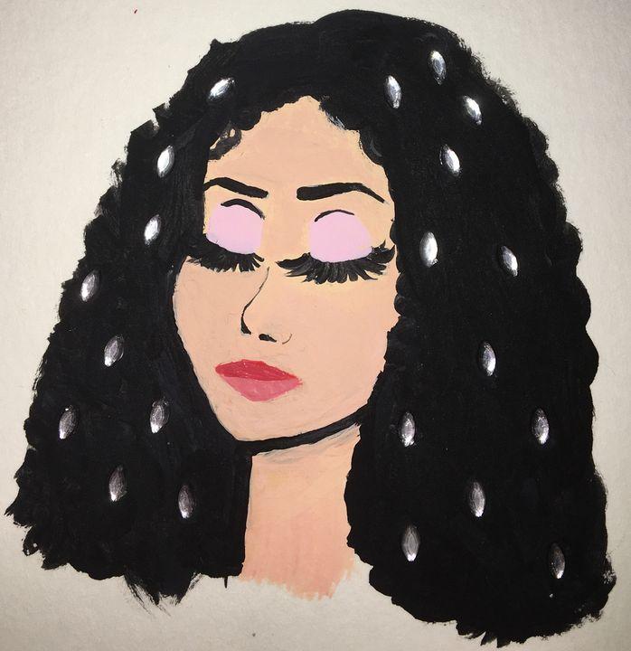 Womans face with black hair - Kassandra Shea
