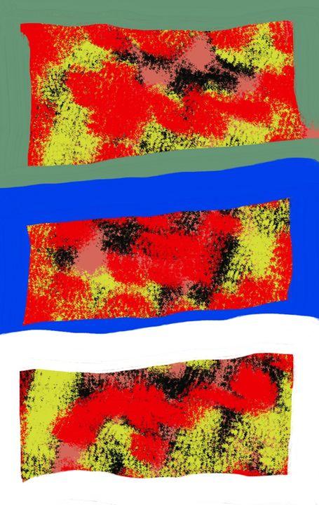 fire in the grass water and sky - Yekuno's art work