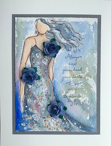 Lady with blue flowers.