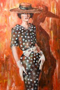 Lady in polka dots dress.