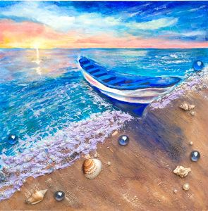 Sunset with a boat. - Irina Collister Art