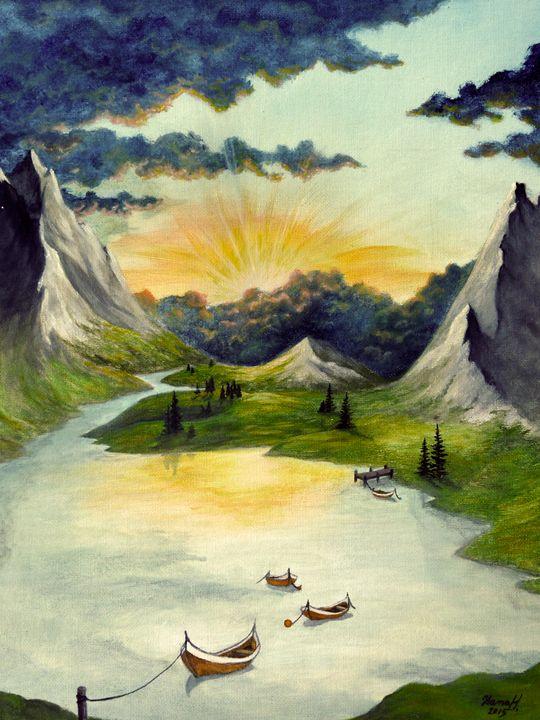The Setting Sun in the Vale - Hana Hladikova Art Studio