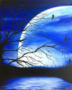 Bluish night moon