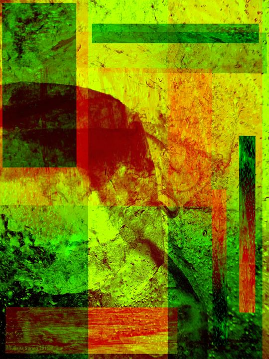 Abstract golden collage 1 - Tussila Spring Fine art