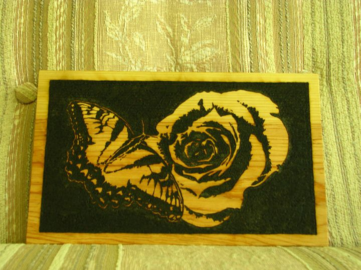 Butterfly on Rose - Wood burning by Dan Ross