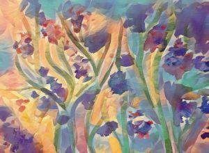 Abstract Purple Flowers - TRS Digital Designs
