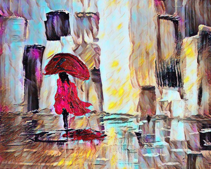 Woman Walking In The Rain - TRS Digital Designs