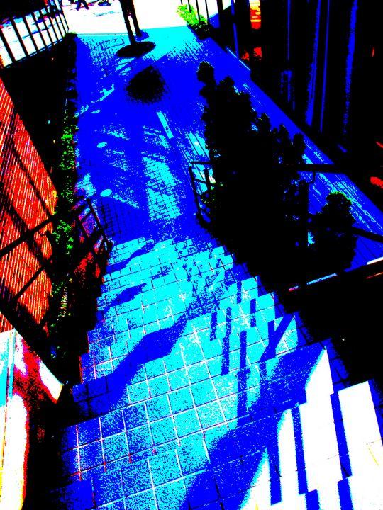 blue shadow stairs - Novo Weimar