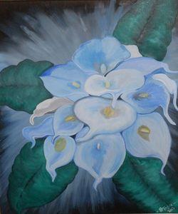 Blue Calla Lilies in Oil
