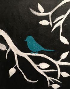 Teal Bird On A Tree