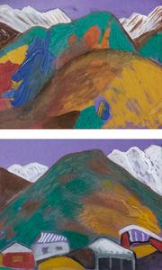 Paintings with snow-capped peaks