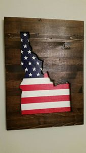Idaho Wooden Patriotic Wall Art