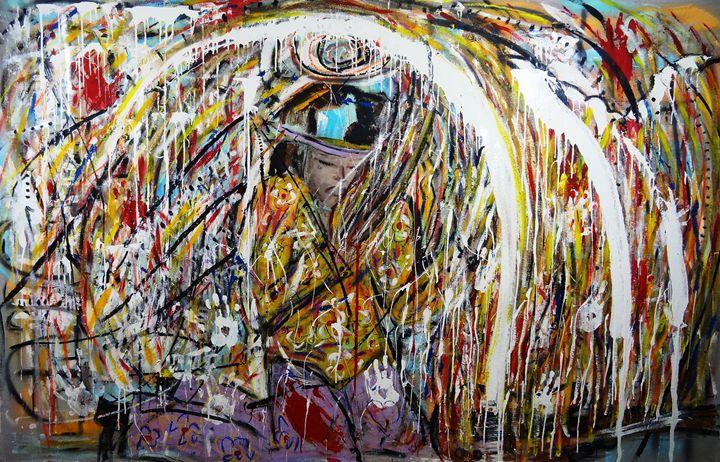Jimi Burning His Guitar - Danny Ayala Mexican Artist