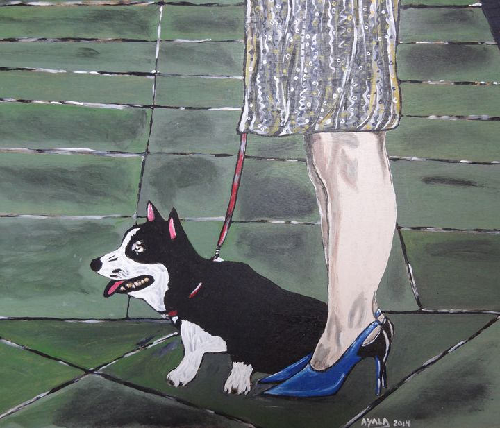 A Woman and Her Dog - Danny Ayala Mexican Artist