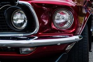 Red Ford Mustang Headlights