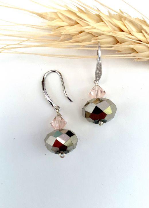 Crystal earrings, French hooks. - L'Petri Design/Art