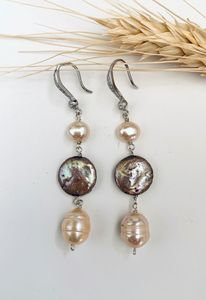 Peach, pink, coin Pearls. Hook backs - L'Petri Design/Art