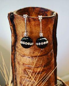 Silver Onyx/CZ earrings